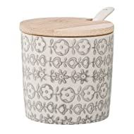 Bloomingville Home Accessories Ceramic Karine Jar with Bamboo Lid & Spoon, 6 Piece