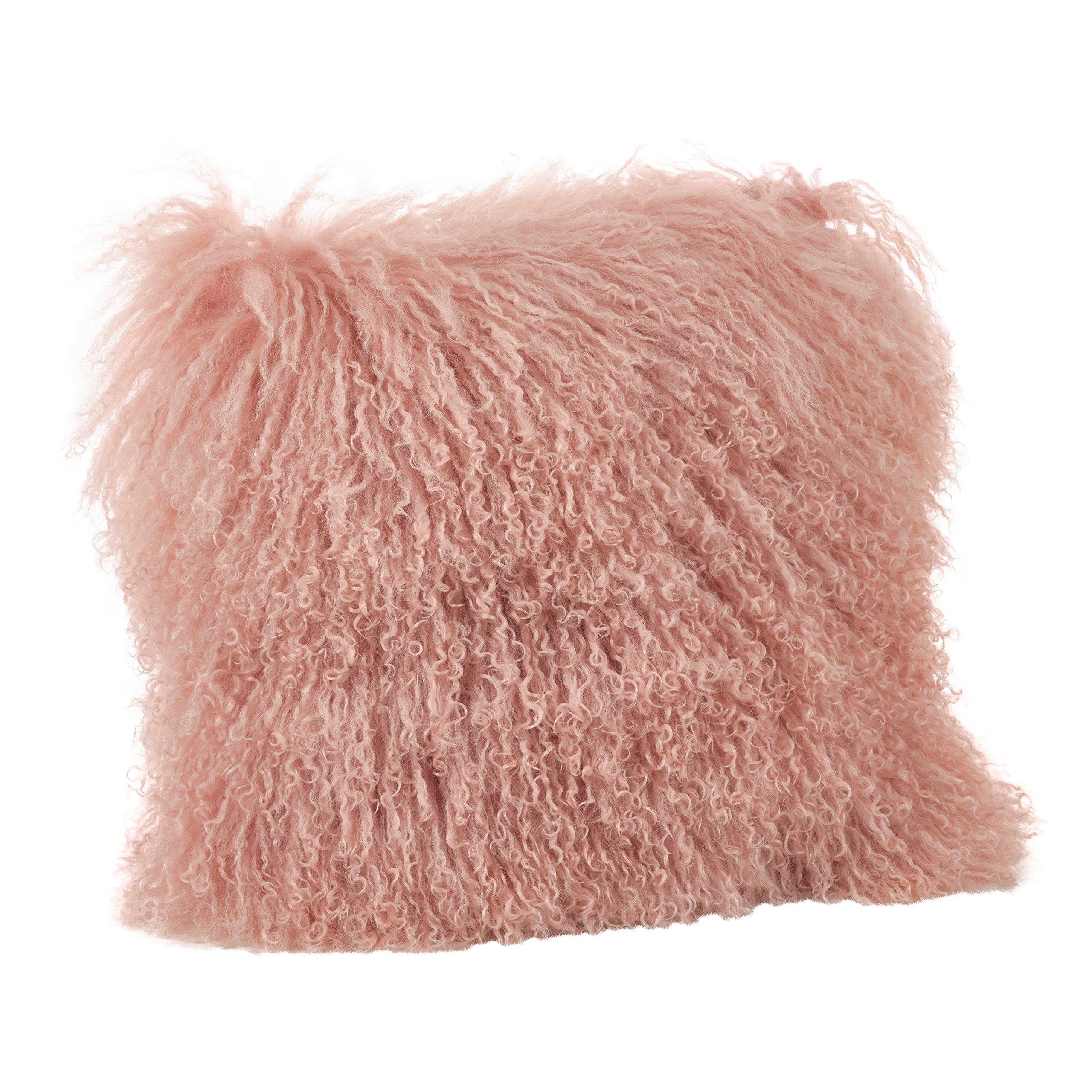 SARO LIFESTYLE Collection Mongolian Lamb Fur Wool Throw Pillow, 20'', Rose by SARO LIFESTYLE