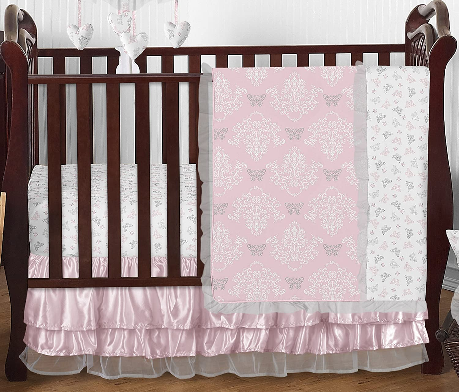 Amazon Pink Gray and White Shabby Chic Alexa Damask Butterfly