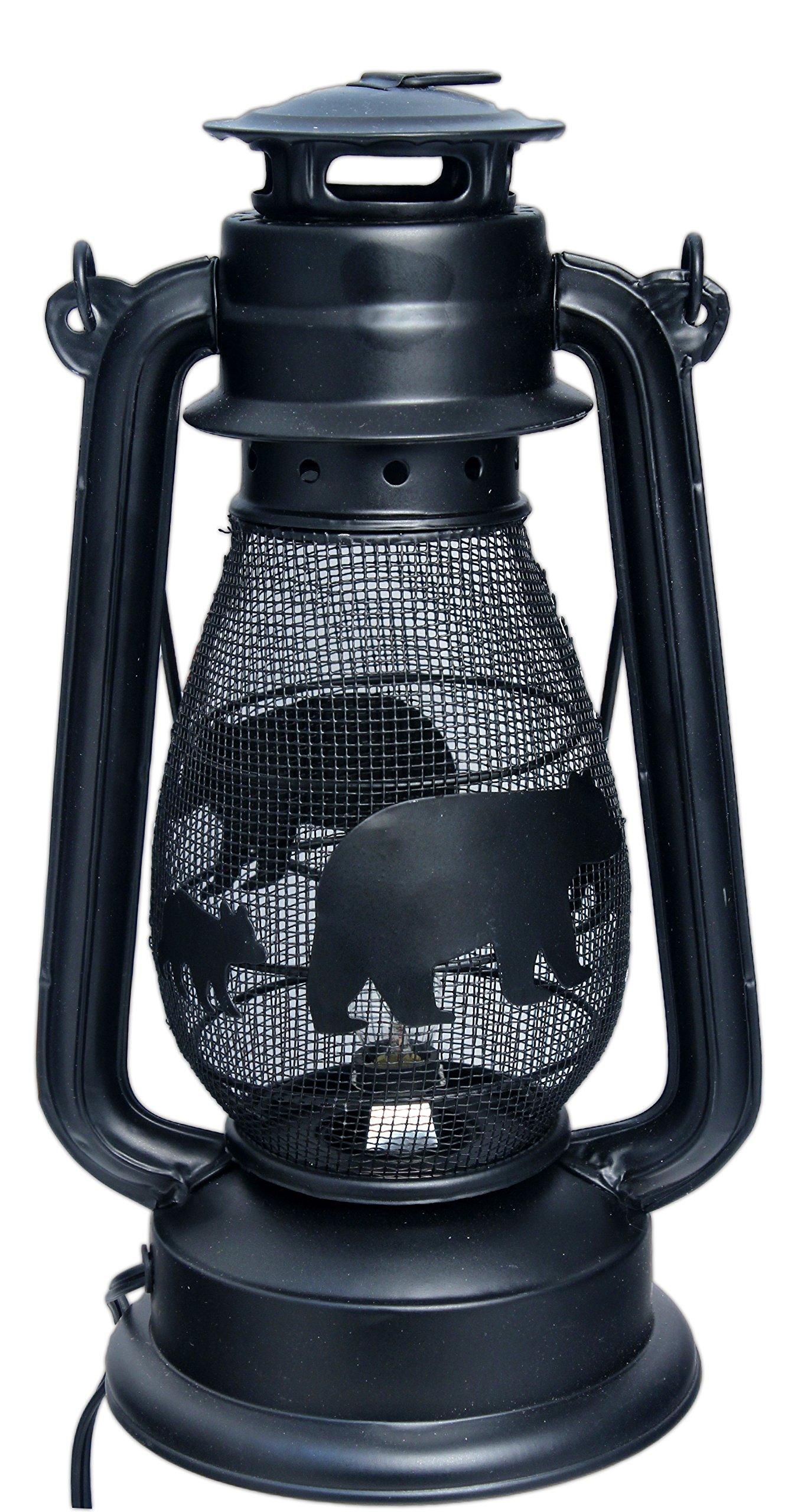 MayRich 12'' x 7'' Rustic Metal Mesh Electric Lantern (Black Bear) by Mayrich