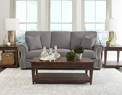 Klaussner Home Furnishings Jensen Sofa with 2 Throw Pillows, 40 L x 91 W x 31 H, Dove