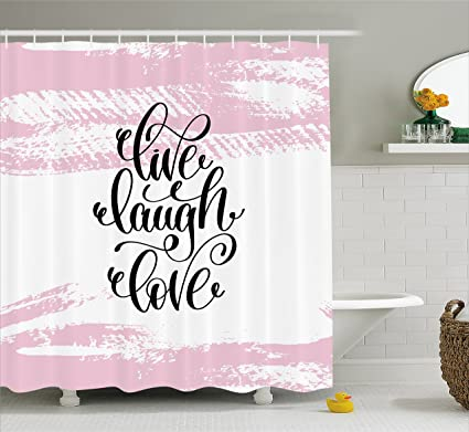 Live Laugh Love Shower Curtain By Ambesonne Abstract Pink Toned Brush Strokes Backdrop With Hand