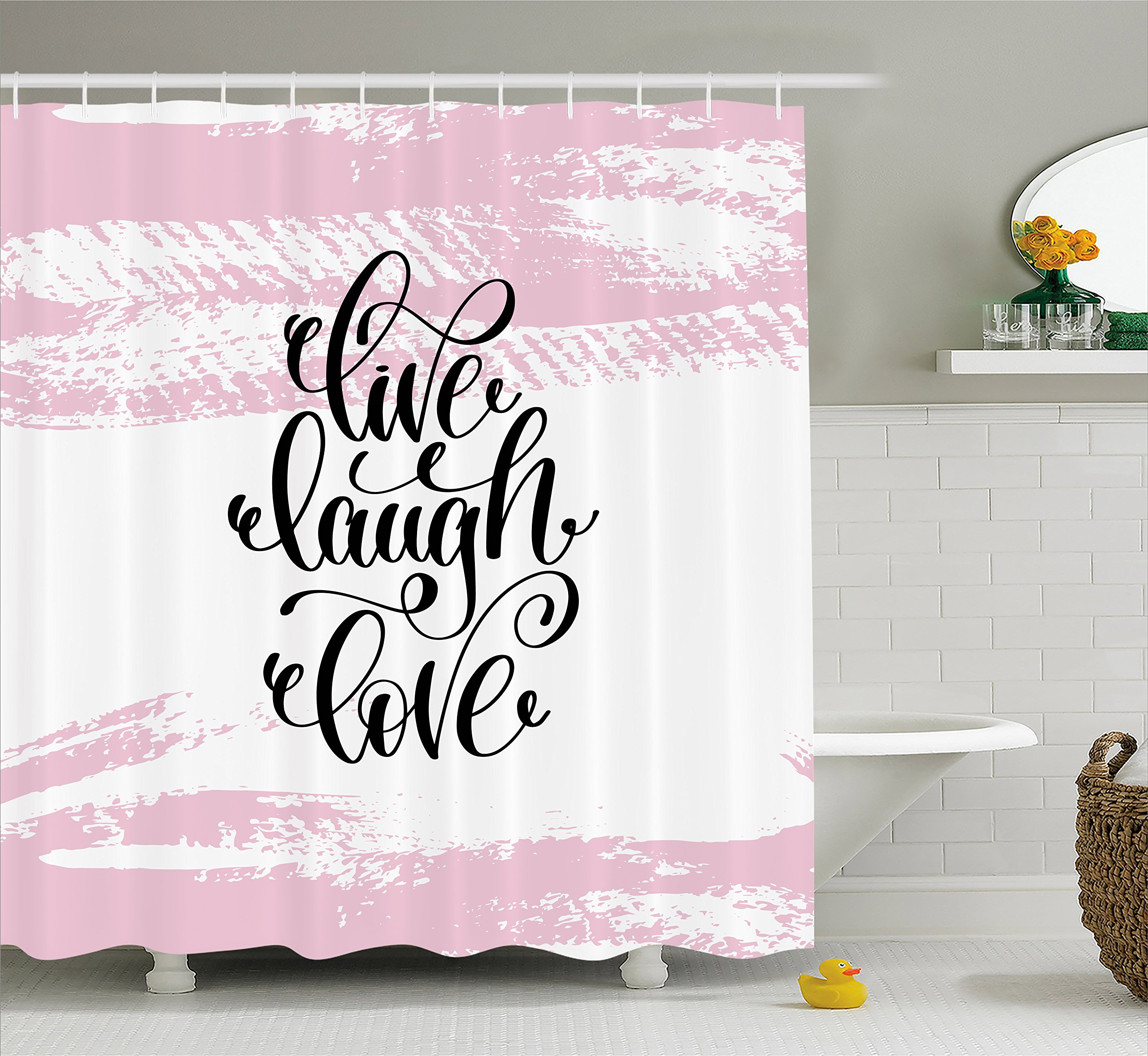 Ambesonne Live Laugh Love Shower Curtain, Abstract Pink Toned Brush Strokes Backdrop with Hand Lettering Quote, Cloth Fabric Bathroom Decor Set with Hooks, 70 inches, Blush Black White