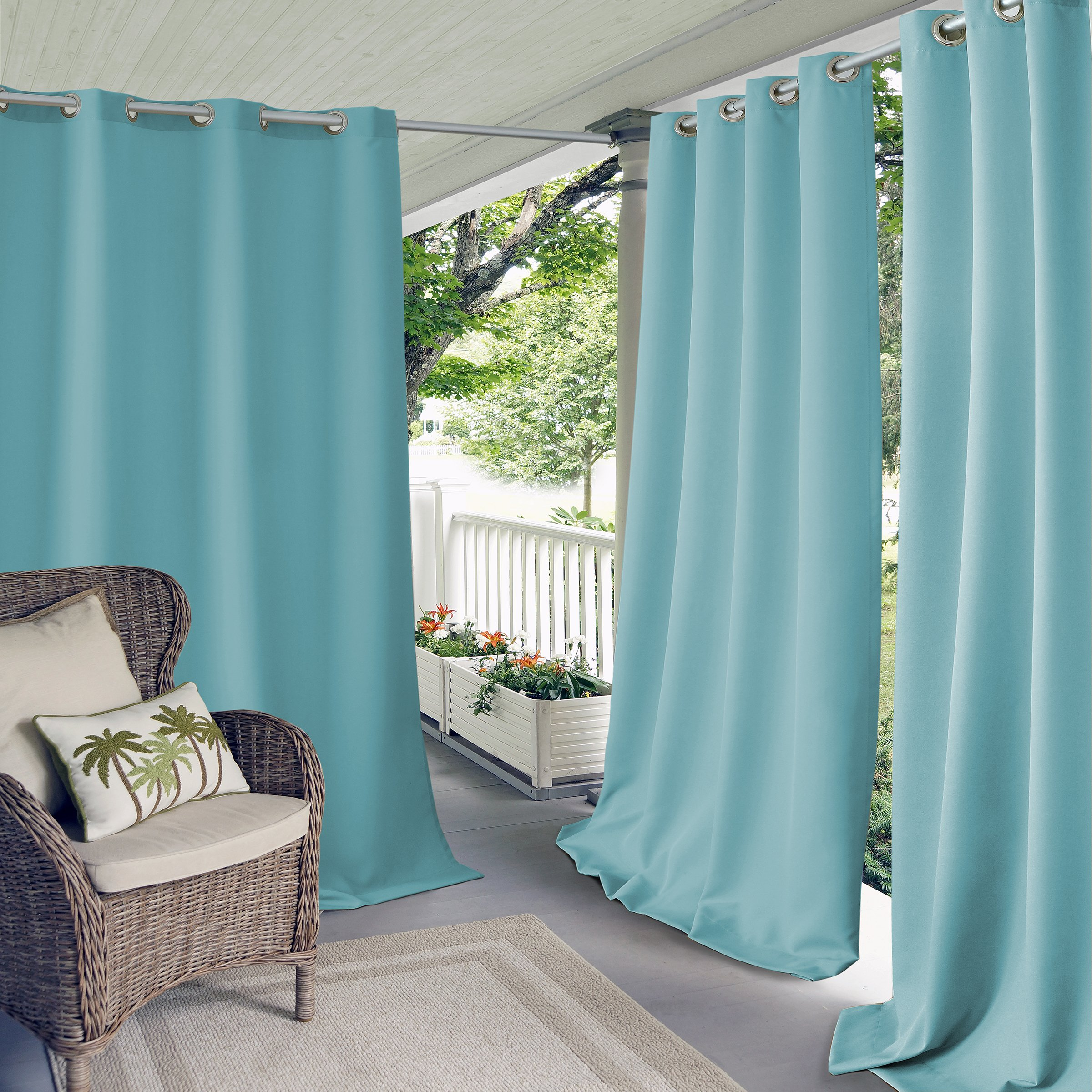Elrene Home Fashions Connor Indoor/Outdoor Solid Grommet Panel Window Curtain 52'' x 108'' (1), Turquoise by Elrene (Image #1)