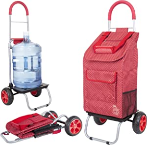 dbest products Trolley Dolly, Red Pin Dot Shopping Grocery Foldable Cart