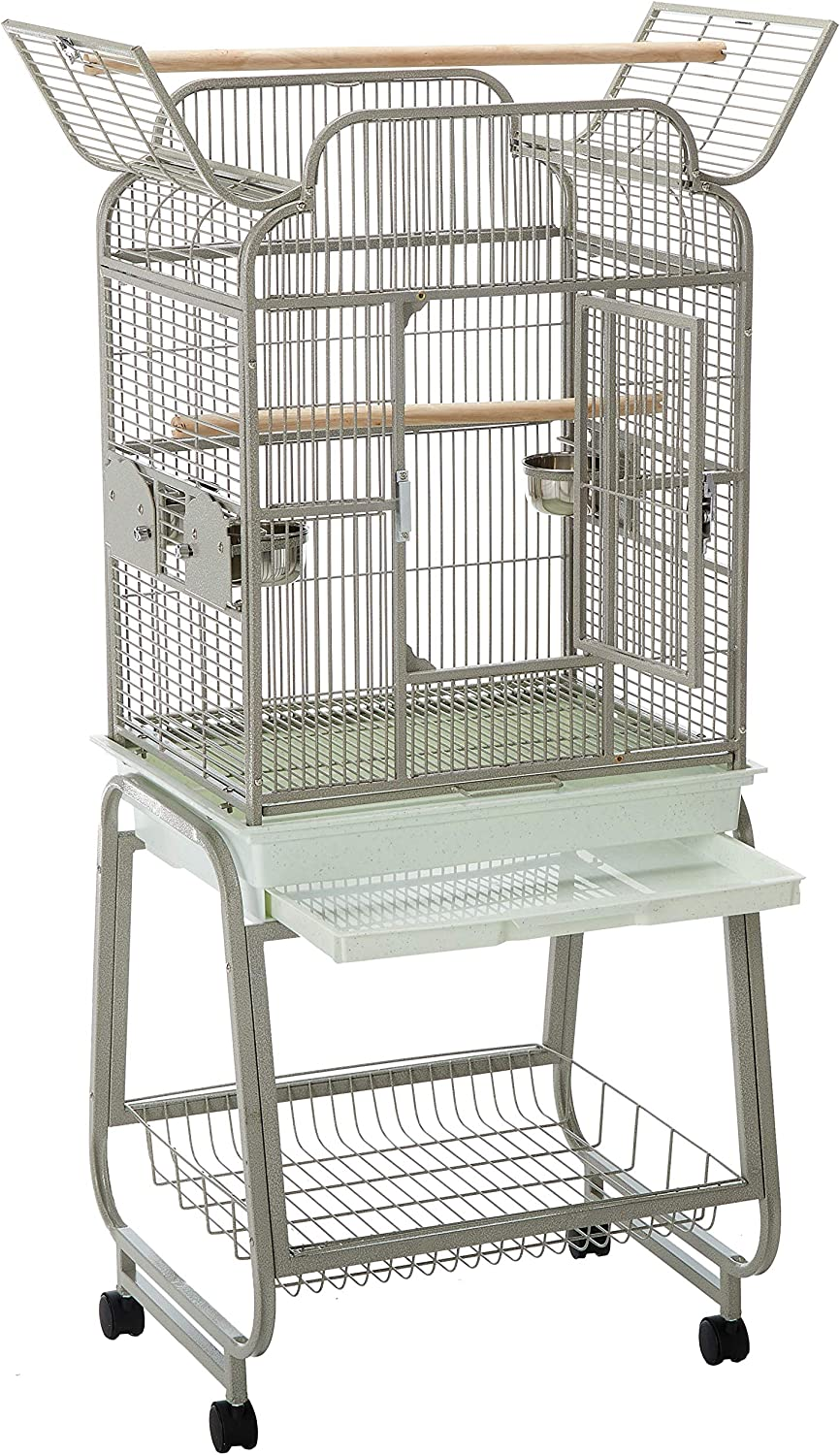A/&E Cage 782217 Platinum Open Victorian Top with Plastic Base Bird Cage 22 x 17