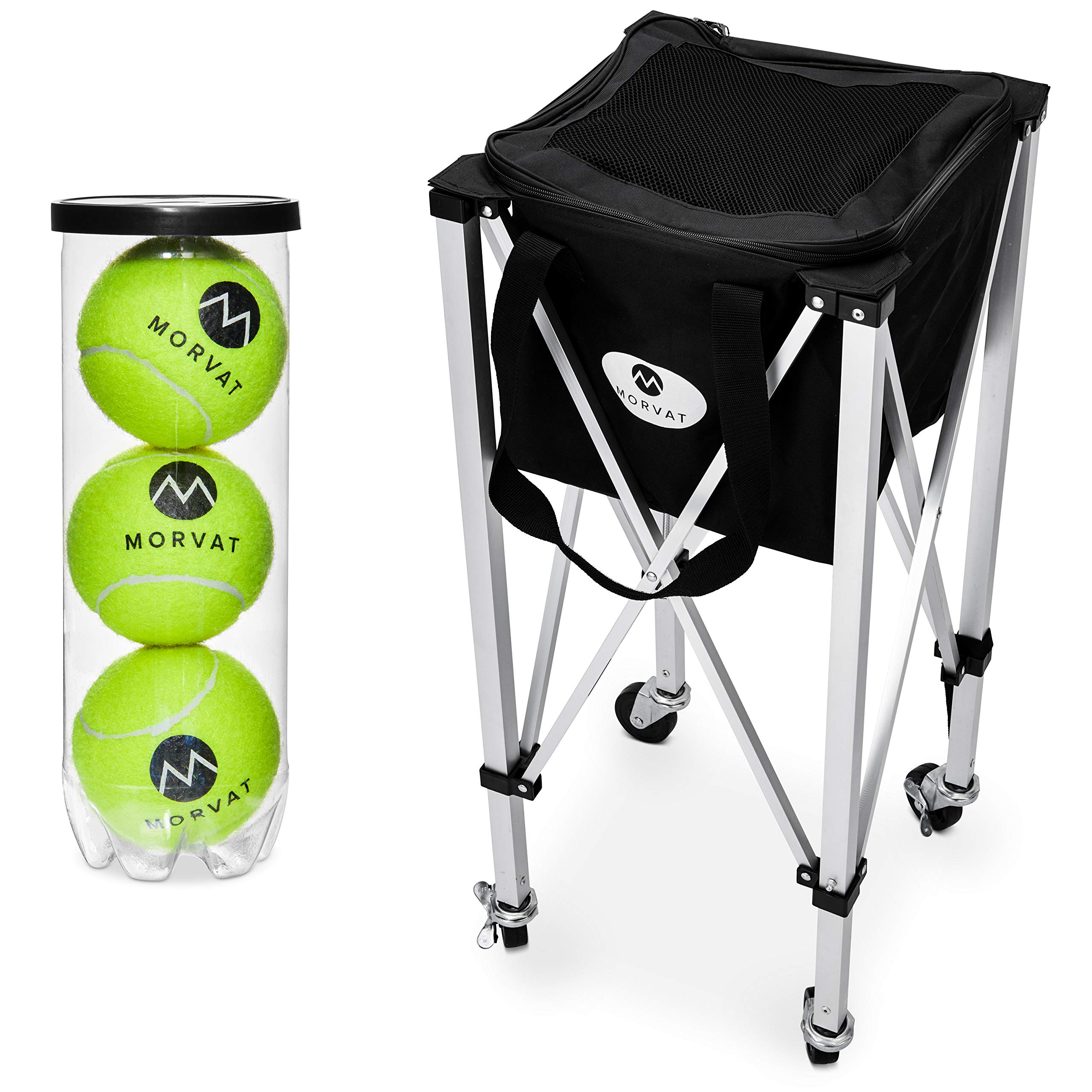 Morvat Tennis Ball Cart (Holds Up to 150 Balls), Tennis Ball Hopper, Tennis Ball Basket, Tennis Accessories, Tennis Gift, Lightweight, Portable, Includes Carry Bag