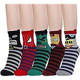 HONGXIN-Shop Kids Socks Cartoon Boys Girls Socks Superhero Striped Patterned Comfortable Breathable Cotton Socks…