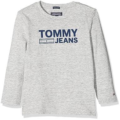 af7213c1 Tommy Hilfiger Boy's AME Logo Cn Tee L/S T-Shirt: Amazon.co.uk: Clothing