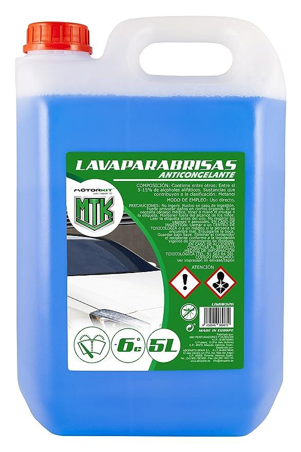 Motorkit LIM10326 Lavaparabrisas Anticongelante-10% de Invierno, Azul 5 litros: Amazon.es: Coche y moto