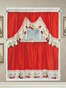 Café Curtains for Kitchen, Bathroom Curtains with Valance and Embroidery (Cherries on Red)