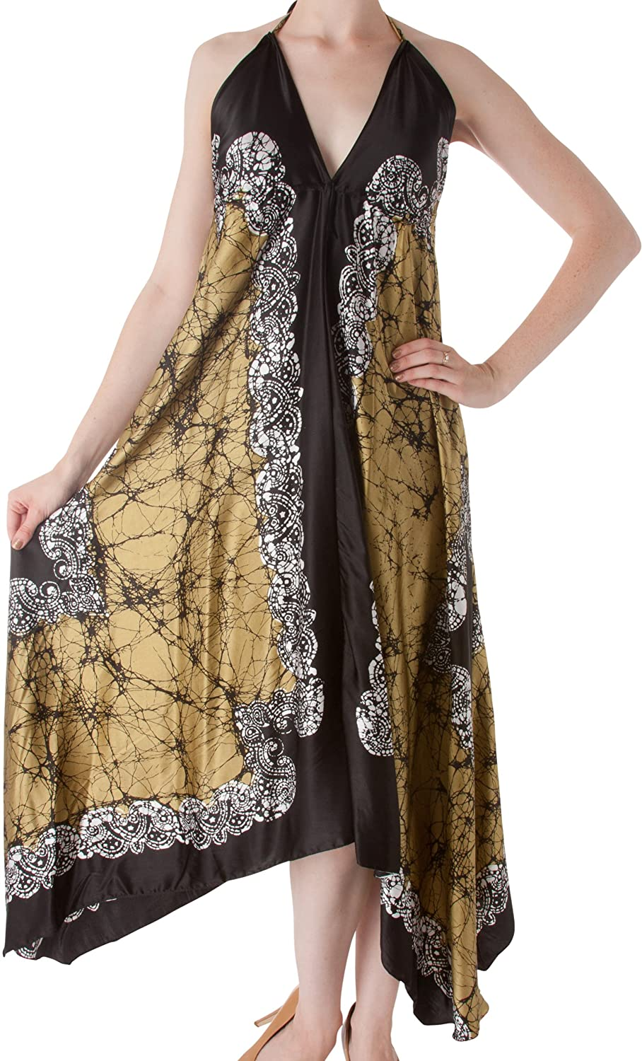 Veins Print Satin V-Neck Halter Handkerchief Hem Maxi / Long Dress ( Various Colors )