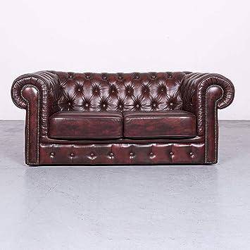 Chesterfield Leder Sofa Rot Echtleder Zweisitzer Couch Vintage Retro