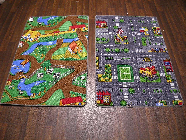Kids City And Farm Reversable Play Mat/Rug 80cm 120cm