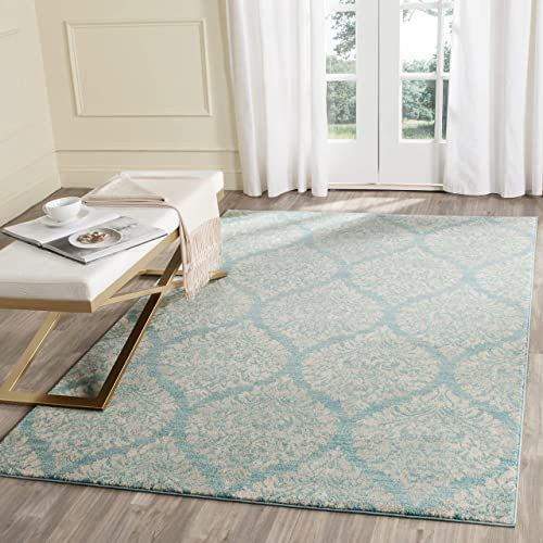 Safavieh Evoke Collection EVK268C Damask Ogee Light Blue and Ivory Area Rug 3' x 5'