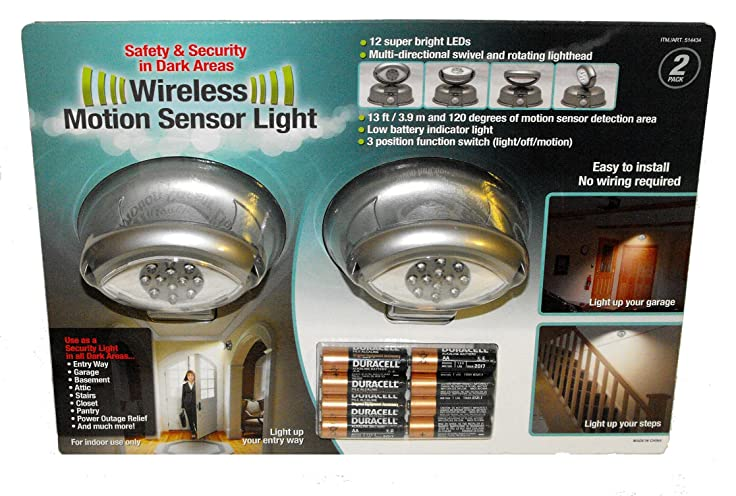 megabrite 12 led wireless motion sensor light 2 pack 8 duracell batteries included