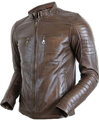 braune gesteppte Herren Biker Lederjacke: : Bekleidung