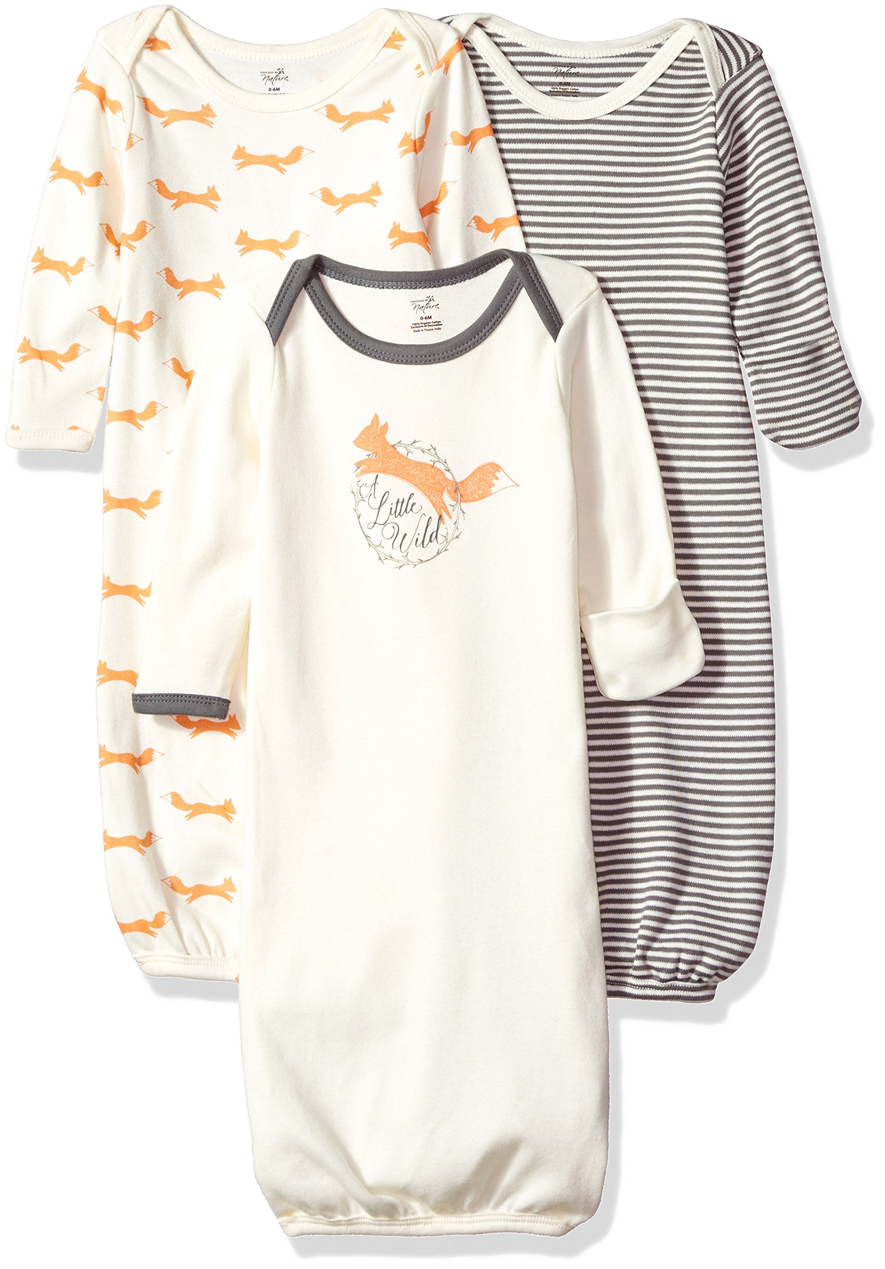 Touched by Nature Baby 3-Pack Organic Cotton Gown, Fox, 0-6 Months