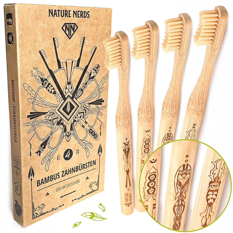 Set di spazzolini da denti in bamb/ù confezione da 4 Nature Nerds // grado di durezza: medio//realizzato in bamb/ù sostenibile//vegano//senza BPA