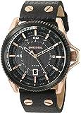 Diesel Men's DZ1754 Rollcage  Rose Gold Black Leather Watch