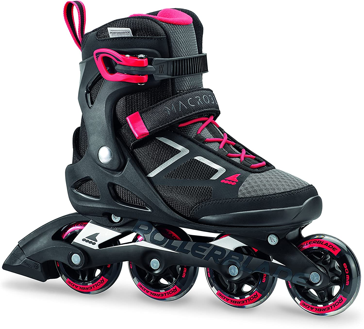 Rollerblade Macroblade 80 Women s Adult Fitness Inline Skate, Black and Pink, Performance Inline Skates