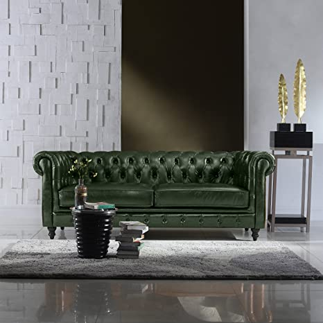 Magnificent Divano Roma Furniture Classic Scroll Arm Real Italian Leather Chesterfield Sofa Green Machost Co Dining Chair Design Ideas Machostcouk