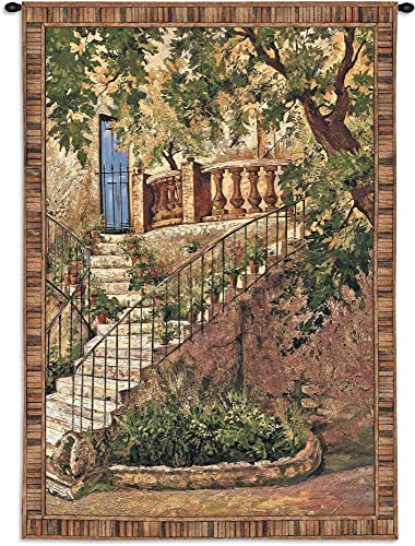 Tuscan Villa I by Roger Duvall Woven Tapestry Wall Art Hanging Rustic Italian Steps with Foliage 100 Cotton USA Size 70×53