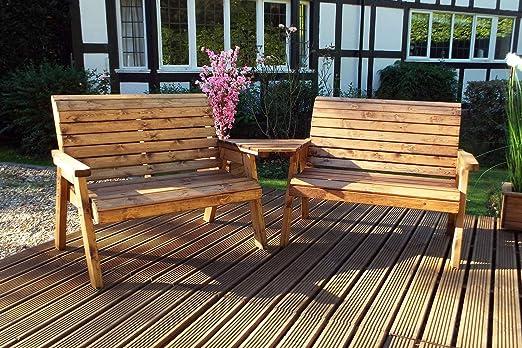 Home Gift Garden - Juego de 4 Bancos de Madera para Exteriores, Muebles de terraza de Madera Maciza: Amazon.es: Jardín