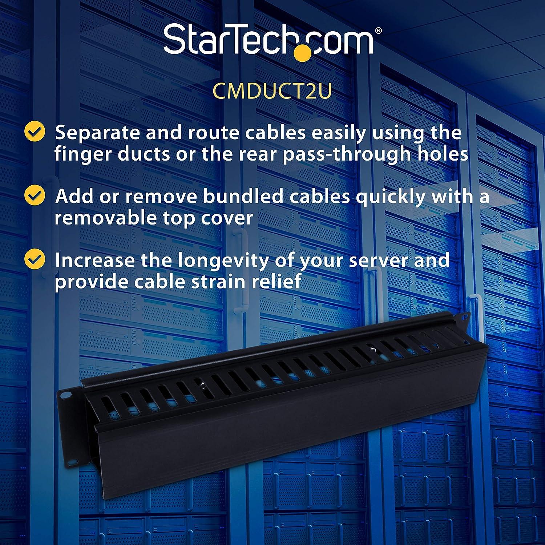 Panel de administraci/ón de Cables con Cubierta para gesti/ón de cableado en Racks StarTech.com CMDUCT2U