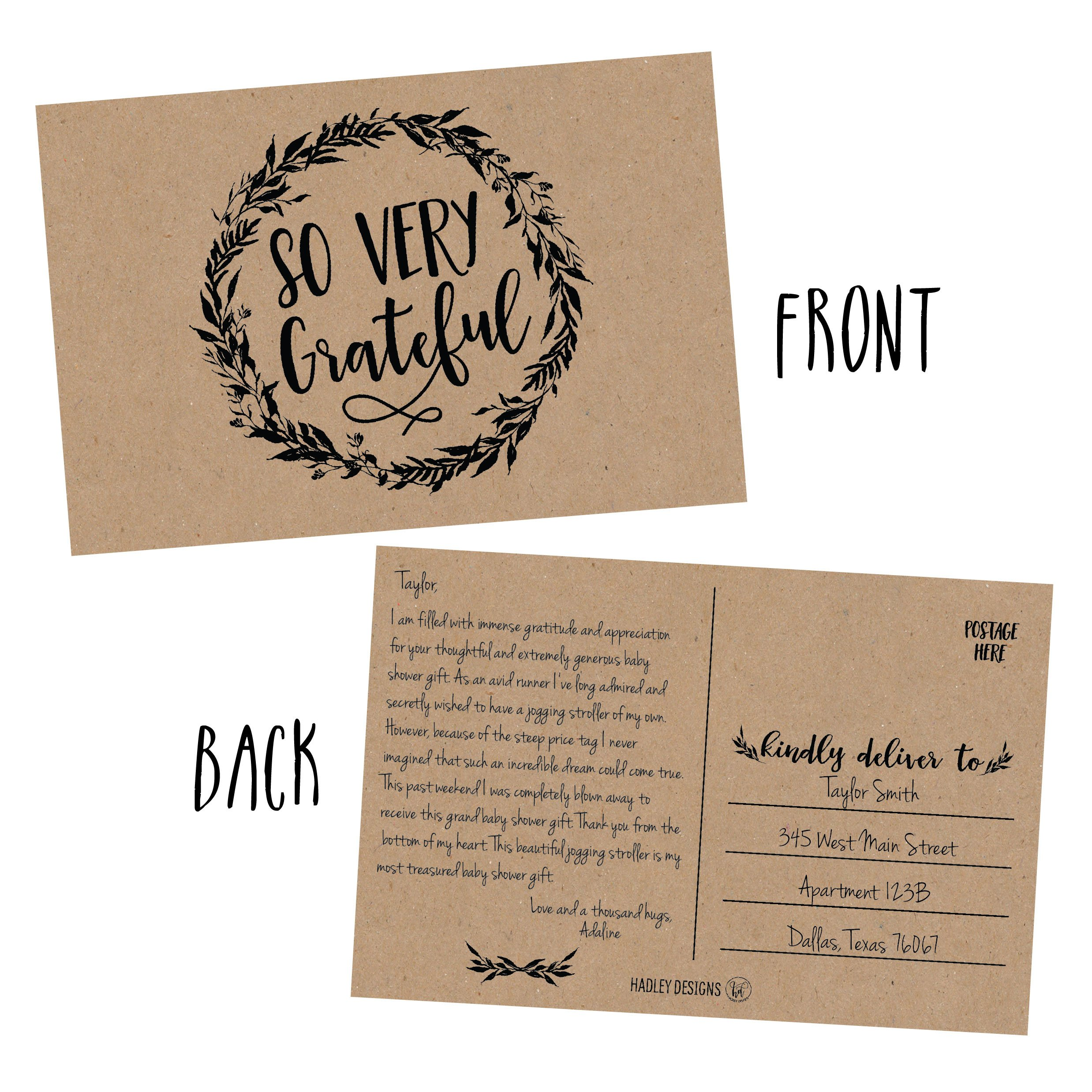 50 4x6 Rustic Kraft Thank You Postcards Bulk, Cute Matte Floral Thank You  Note Card Stationery Set For Wedding, Bridesmaid, Bridal or Baby Shower,