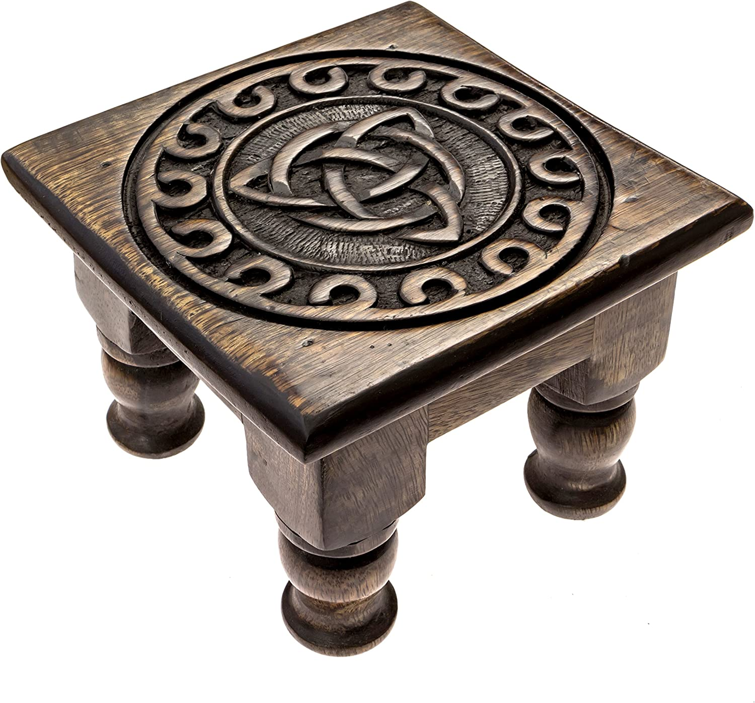 Carved Wooden Triquetra Altar Table - 6 Inches Wide, 4 Inches Tall