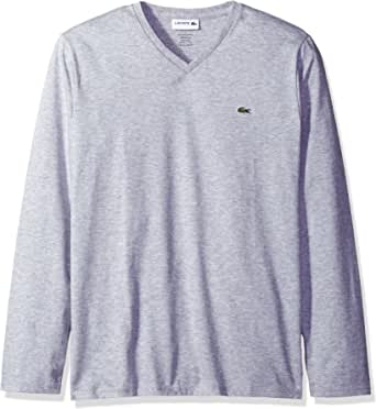 Lacoste Men's Long Sleeve Jersey Pima Reg Fit V Neck T-Shirt, TH6711