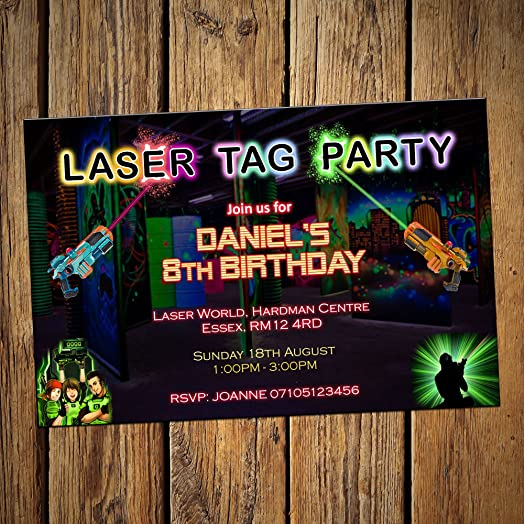 Laser Tag Party Invitations Personalised Invites Pack of 16