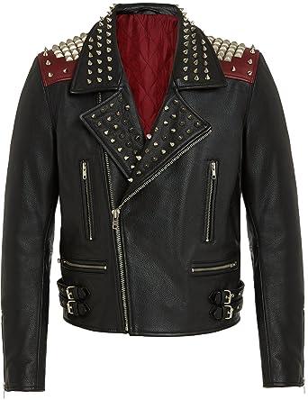 Vintage En Cuir Moto Blouson Rouge Mode Avec Fermeture Rock Noir Veste Biker Homme Style SxZZqT