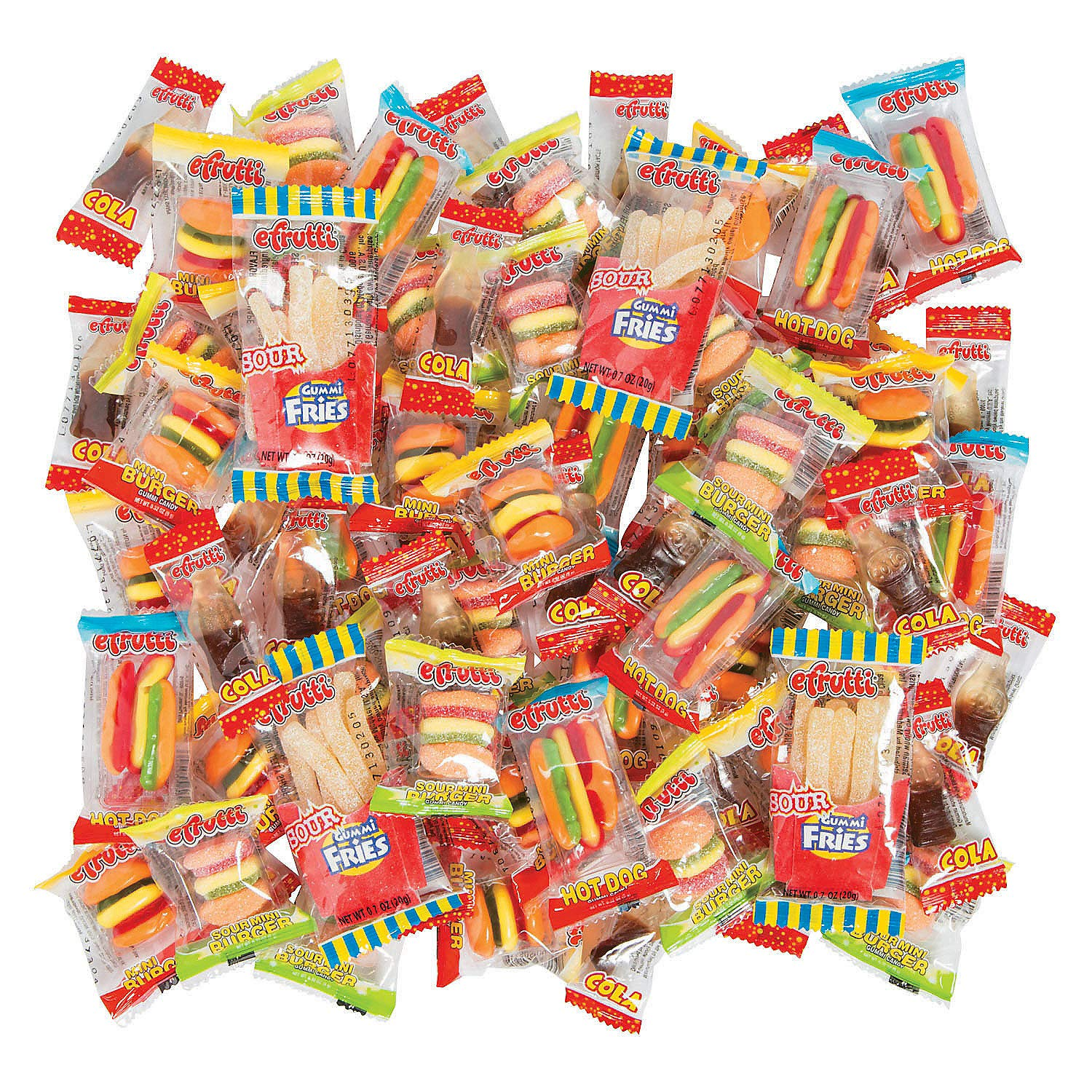 eFrutti Hot dogs, Hamburgers and Cola Gummy Candy Mega Mix - 70 pieces