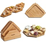 VonShef Set of 4 Serving Platters with Stand – Natural Bamboo Boards – Tapas Party Wood Tray Plates
