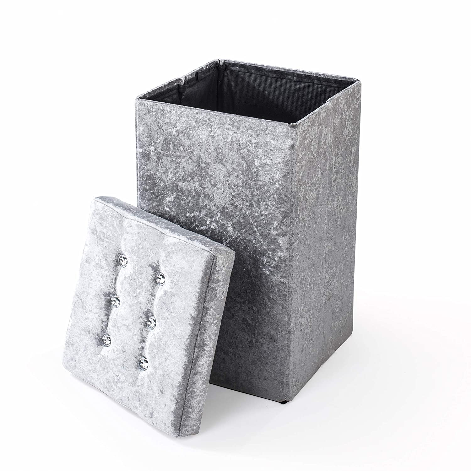 UK Home Accessories Large Laundry Bin//Collapsible Stool Hamper crushed velvet silver Washing Bin with Lid dressing table chair. Storage Box