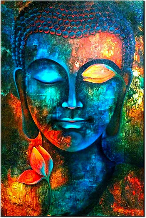 Amazon Com Blue Buddha Wall Decor Colorful Abstract Buddha Head Wall Art Zen Posters Modern Home Decor Living Room Study Bedroom Canvas Prints Painting Lotus Murals Hang Pictures Decoration 24x36 Inch Everything Else