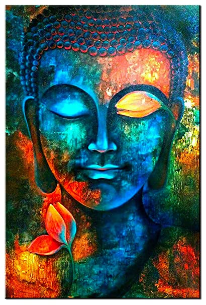 SUNFROWER ART Colorful Abstract Blue Buddha With Lotus Modern Home Decor Canvas Print Painting Wall