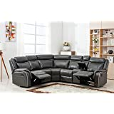 Large Classic and Traditional Two Tone Bonded Leather Reclining Corner Sectional Sofa (Grey)