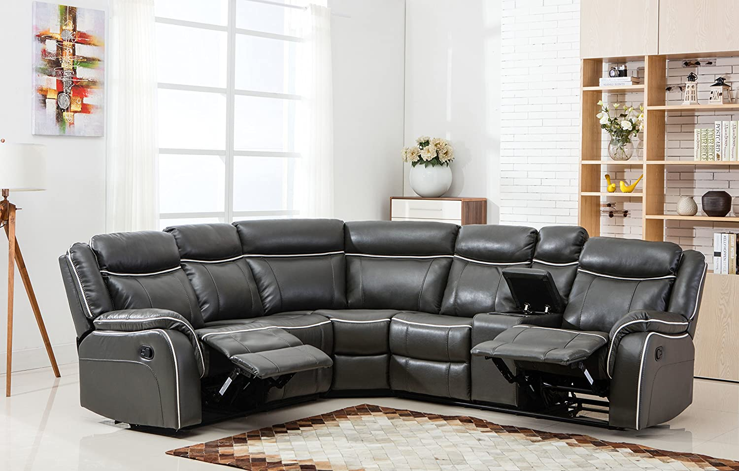 Beau Amazon.com: Large Classic And Traditional Two Tone Bonded Leather Reclining Corner  Sectional Sofa (Grey): Kitchen U0026 Dining