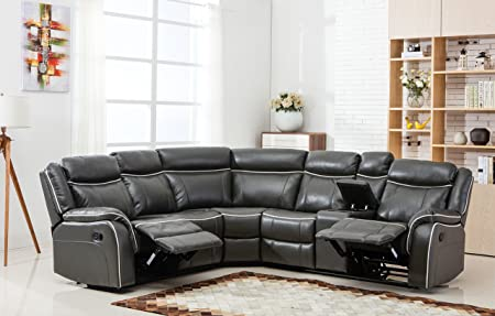 Large Classic and Traditional Two Tone Bonded Leather Reclining Corner Sectional Sofa Grey