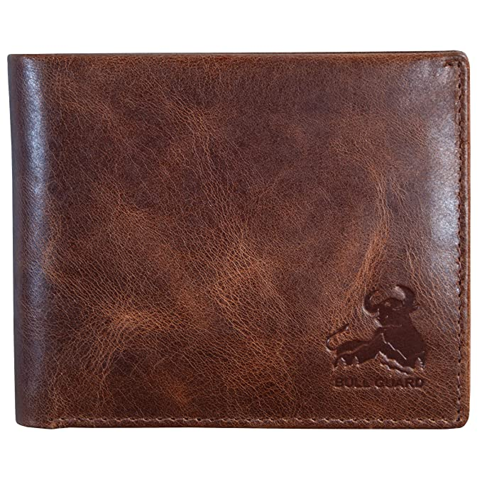 Bull Guard Mens RFID Blocking Bifold Wallet Soft Genuine Leather Brown Western best men's RFID wallets