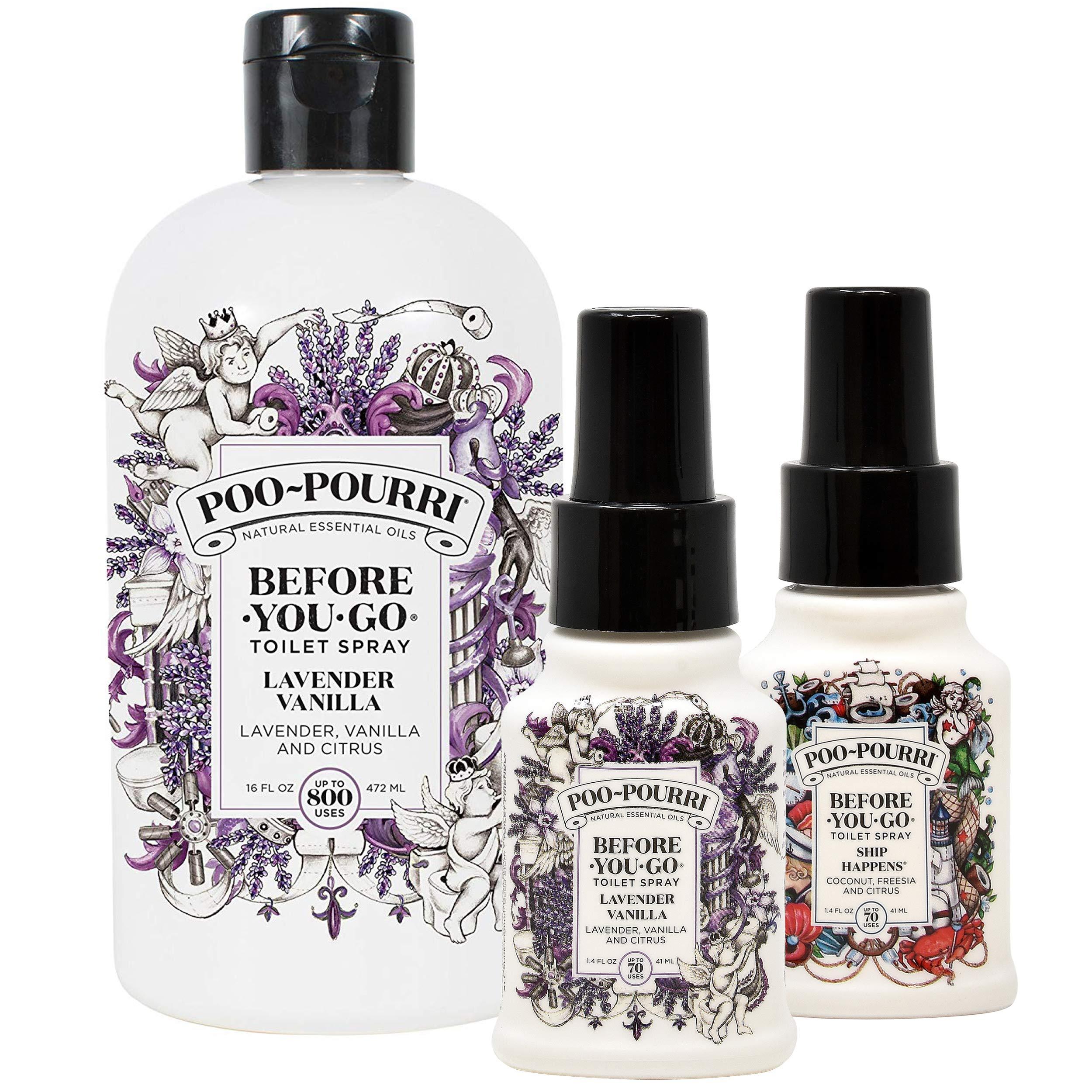 Poo-Pourri Lavender Vanilla 16 Ounce Refill Bottle, Lavender Vanilla 1.4 Ounce and Ship Happens 1.4 Ounce