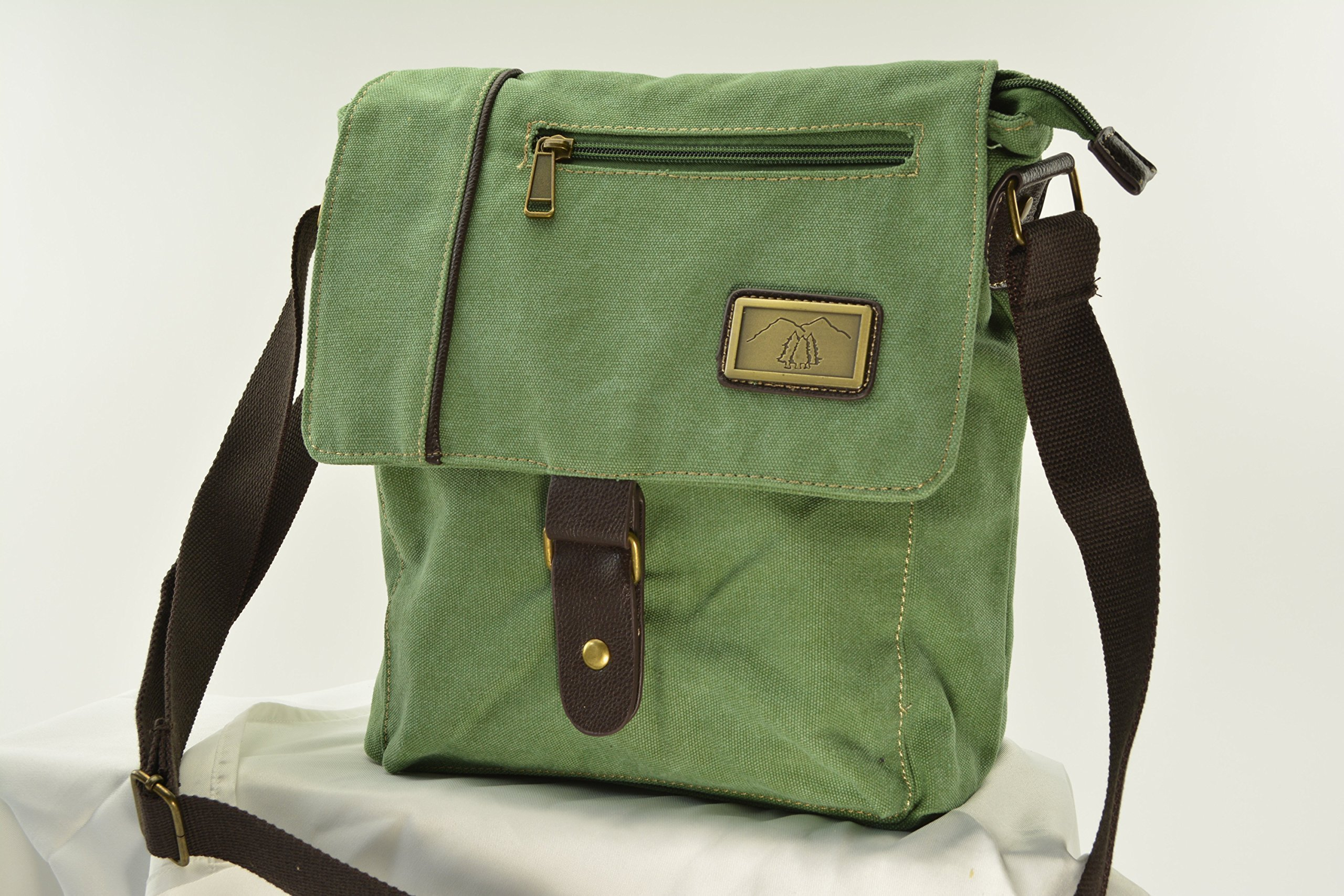 Green Canvas Messenger Concealed Carry Bag - Large Semi Auto or Revolver - Room for a Tablet or Laptop and More..an excellent choice for Men or Women!
