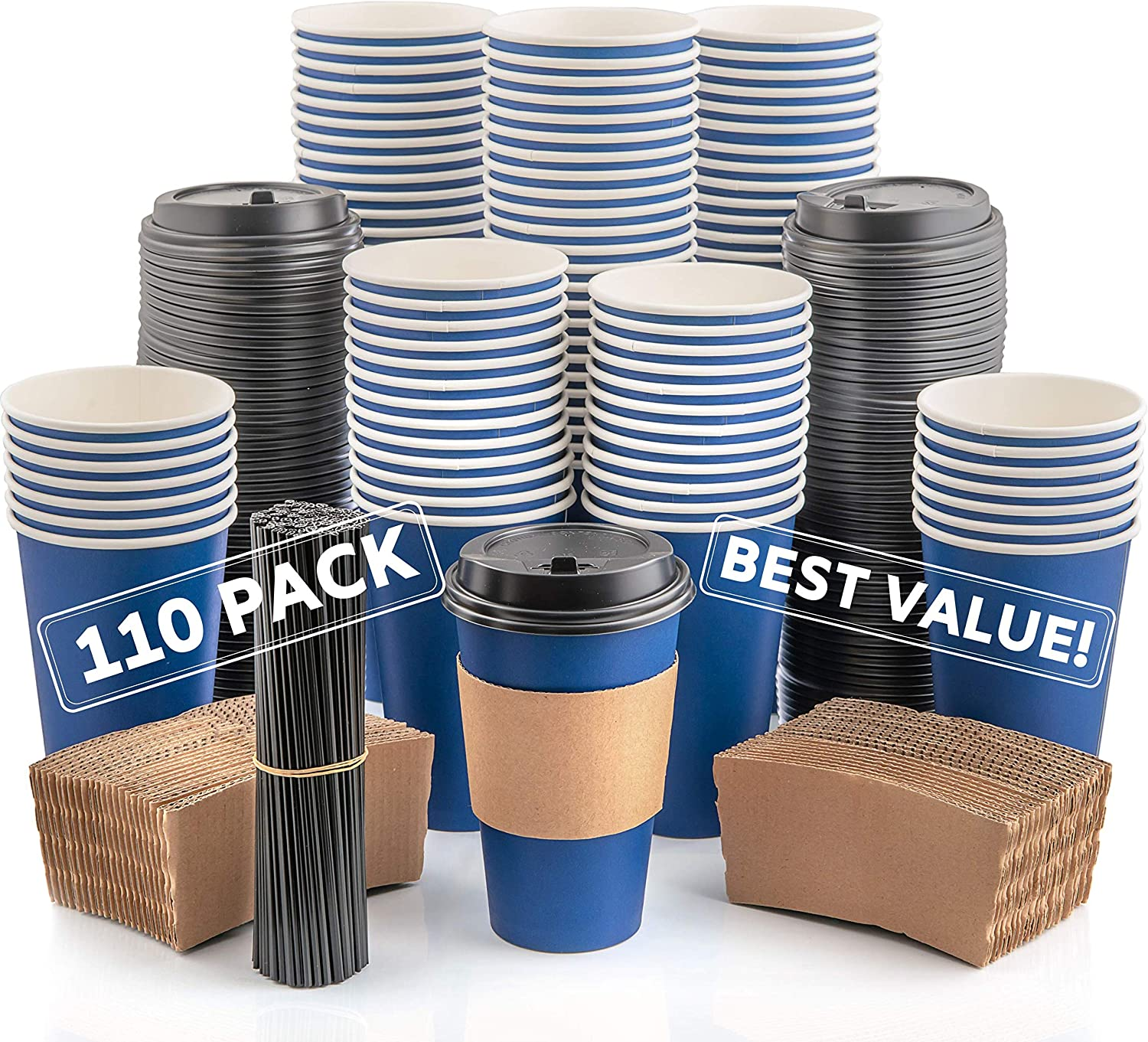 110 Pack Disposable Coffee Cups with Lids - Premium Quality 16 oz To Go Coffee Cups with Sleeves, Tight Lids to Prevent Leaks & Straws - This Paper Hot Cup Holds Shape With Hot Drinks - Midnight Blue