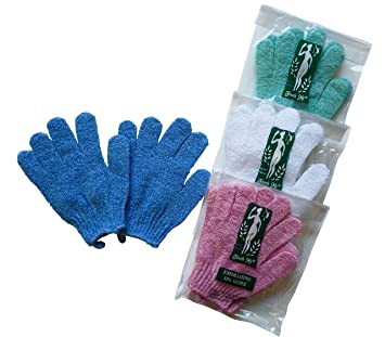 f3a9a2890e7f8 Amazon.com : 4 pairs/set Touch Me Exfoliating Spa Bath Gloves, assorted  colors (4 pack) : Bath Mitts And Cloths : Beauty