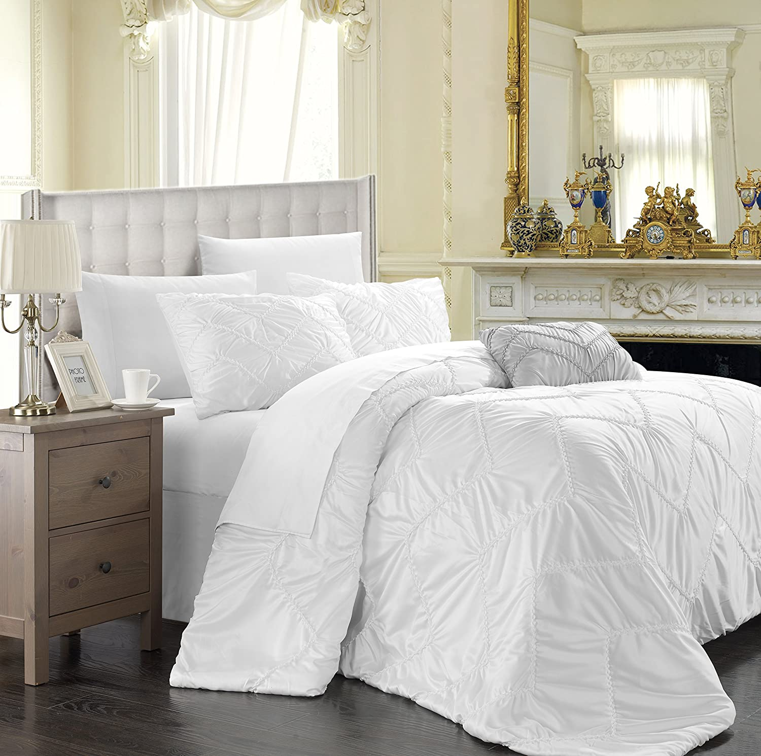 Amazon.com: Chic Home Isabella 4-Piece Duvet Cover Set, King, White ...