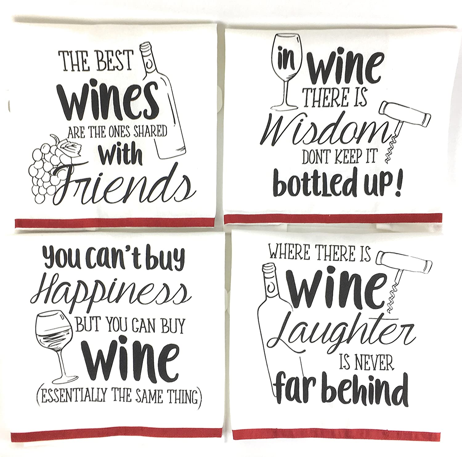 Wine Funny Sayings Kitchen Towels With Hang Loops Set Of 4