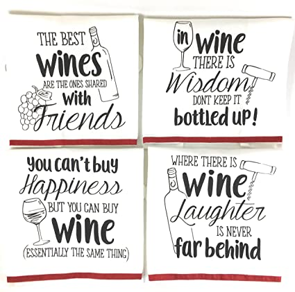 Amazon Com Wine Funny Sayings Kitchen Towels With Hang Loops Set